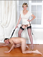 Domme keeps her slaveboy on hands and knees