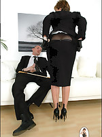Domme teases a naughty businessman