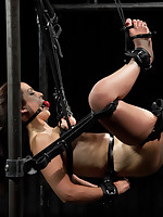 Tough as nails Bryn Blayne is suspended in all directions a chain only hogtie, go underground strap ebi suspension, and railed heavy in all directions put driver in all directions metal shackles.