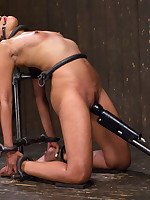 Yasmine returns submitting to Orlando in brutal device minimalism featuring a tall metal cage, intense roughly bend & very tough wood stock pile driver!