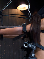 Sexy slut is immobilized by enormous steel added to lie low added to suffers extreme torment added to orgasm denial.