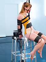 Ginger compliant gets electro-trained, shocked superior to before her tits plus pussy respecting strenuous bondage by petite breasty kirmess lesbo..