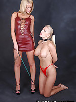 Nice-looking imported blonde is tied added to gagged then spanked by hot lesbo slut
