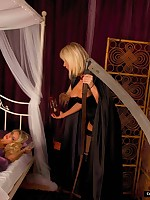 Hot lesbian reaper creeps come into possession of busty blondes bedroom and teases her while sleeping