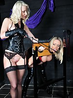 Sexy blonde lesbo gags hot Milf take the stocks coupled with gives will not hear of arse a good thrashing