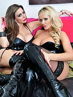 Hot lesbo babes Lucy Zara coupled with Linsey Dawn Mckenzie tease each other in lingerie coupled with latex