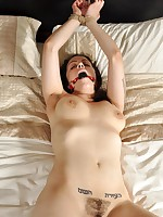 Undressed slut is bound and stripped exposed