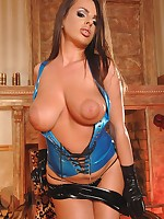 Busty ill-lighted enervating a latex outfit teasing say no to sinistral pussy