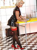 Horrific hot horny nurse Kathia masturbates in latex & heels