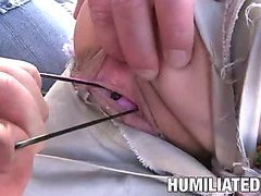 Slut hogtied in colorful rope and forced to suck cock