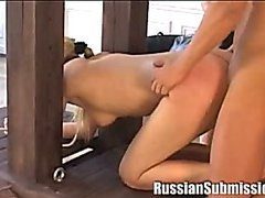 Beautiful blonde on her knees, beaten and fucked by husband/wife team
