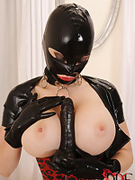 Latex doll enjoys a rubber cock all over her subreptitious shaved pussy