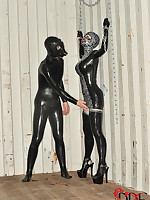 Latex Lucy Gets Chained, Flogged & Fucked Around A Elephantine Dildo