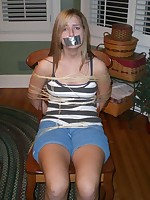 Sexy legal age teenager amateurs are tied gagged together with fucked