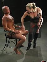 Blonde mistress ensures obedience through flogging, CBT, ass worship