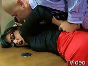 BDSM Movies Brunette in bondage fucked and