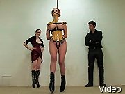 Bizarre Movies Lass with plump boobs bondaged and