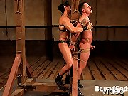 Slave finn gets a suspended fuck and full cum facial.