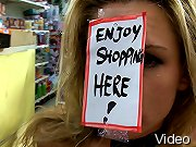 Amanda Blow becomes the cheapest thing at the 99 cent store as she is fucked and humiliated in public