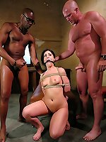 Sexual BDSM Brunette bondaged hard in orgy and smutbdsm.com