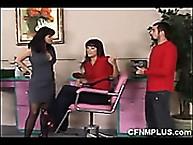Three woman spanking his ass in their salon