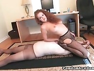 Beautiful mistress plays with her masked slaved