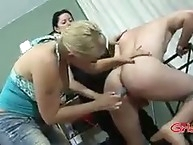 Two mistress checking his ass for dildo action
