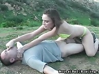 Amazing ballbusting bikini babe defends herself against an..