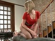 Sexy sadistic shop girl foot teases