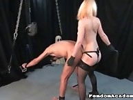 Blonde dom fucked her tied worm