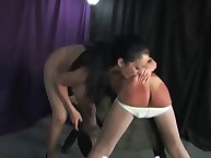 Hot brunette mistress punished bad slave
