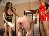 Mistress spanks his ass with wooden paddles