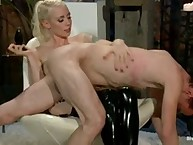 Lorelei Lee spanking the shit out of him