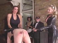 The mistresses spanked male serf on