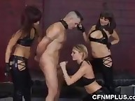 Superlative lady lowers a bare slave