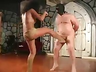 Pain balls kicking for obese slave