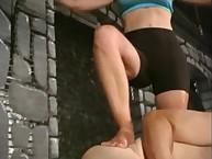 Angry brutally punching her bondman ball and cock
