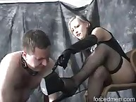 Latex female-dominant got her black boots worshipped
