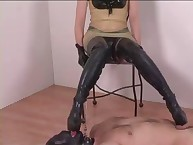 A submissive BF is happy licking nyloned feet