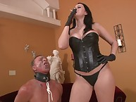 Femdom humiliation with dark brown goddess