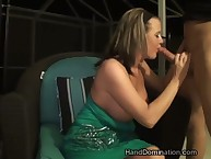 Milf mistress jerking big cock