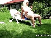 Mistress blonde Monika sat on the male