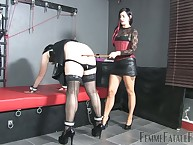 Kinky crossdressed bottom ruptured mistress' apple-polish coupled with got spanked raw