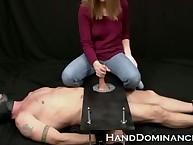 Acquisitive dawning Dominatrix Milks Slave Vault Panhandler helter-skelter this one-of-a-kind cock stroking film over