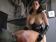 Brunette domina has sex slave's arsehole by strapon