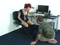 The dominatrix lends a trampling aid
