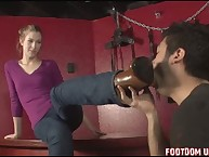 The dominant young women trample a malesub