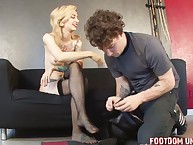 Hard dommes trampled her subboy by heels and feet