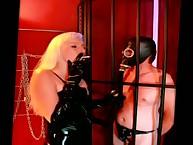 Smoking dominatrix humiliated submale