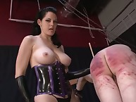 Bad sub was spanking by domme
